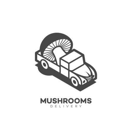 Mushrooms delivery logo design template in linear style. Vector illustration. Иллюстрация