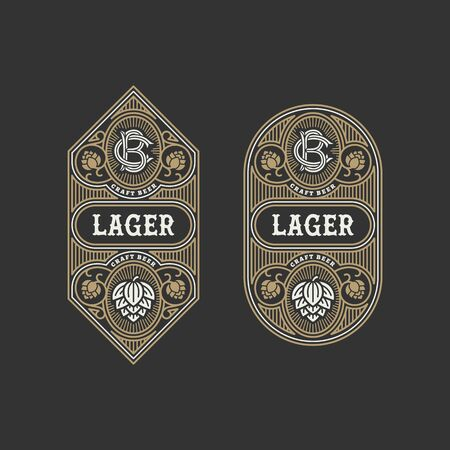 Two flourishes beer label design templates with hops. Vector illustration.