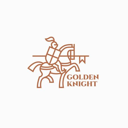 Golden knight logo design template in linear style. Vector illustration. Иллюстрация