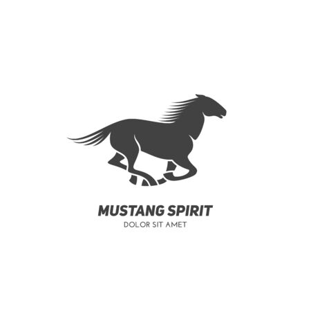 Running horse logo design template. Vector illustration.