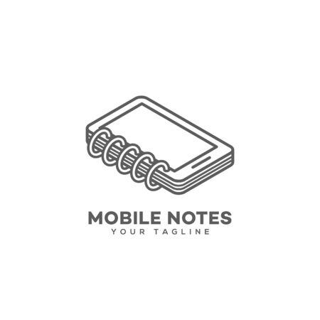 Mobile notes logo design template in linear style. Vector illustration.