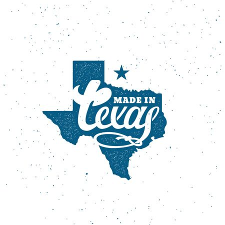 Made in Texas lettering contour over map of state with stamp effect. Vector illustration. Иллюстрация