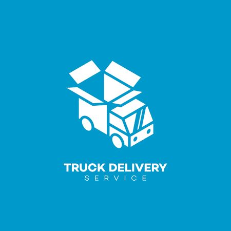 Truck delivery logo design template. Vector illustration.