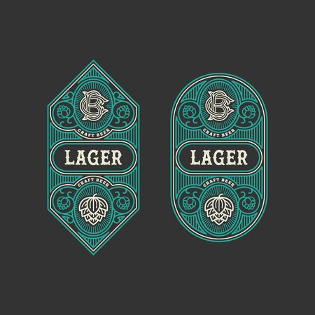 Two flourishes beer label design templates with hops in linear style. Vector illustration.
