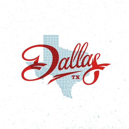 Dallas word lettering design with a map of Texas. Vector illustration. Иллюстрация
