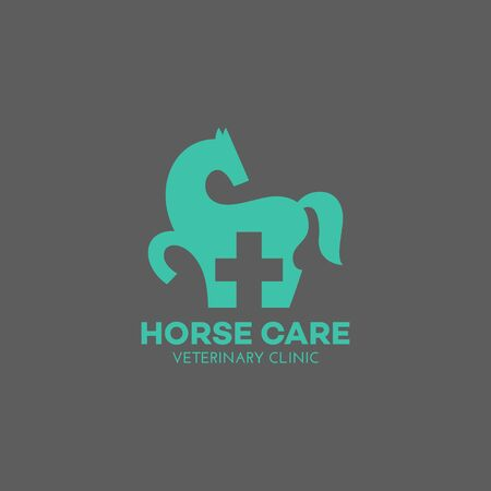 Horse care logo design template. Vector illustration. Иллюстрация