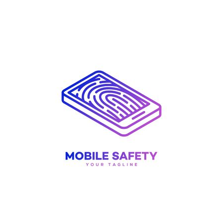 Mobile safety logo design template in linear style. Vector illustration. Иллюстрация