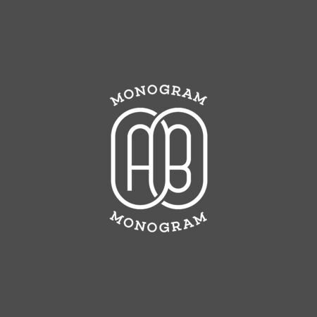 Monogram letters A and B. Vector illustration.