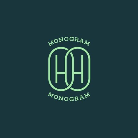 Monogram two letters H. Vector illustration.