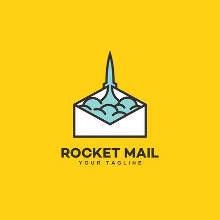 Rocket mail logo design template. Vector illustration.