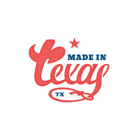 Made in Texas lettering with stamp effect. Vector illustration.