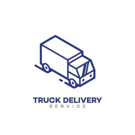 Truck delivery service logo design template in linear style. Vector illustration.