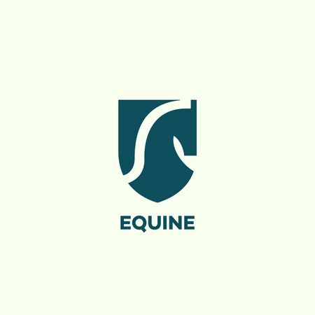 Equine   design template with a horse head and a shield. Vector illustration.