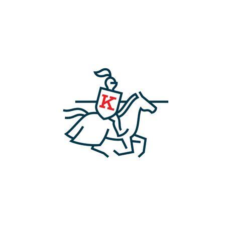 Knight design template in linear style. Vector illustration. Vektoros illusztráció