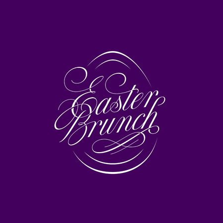 Calligraphic flourish lettering Easter Brunch for greeting card, invitation, poster, banner template. Vector illustration.