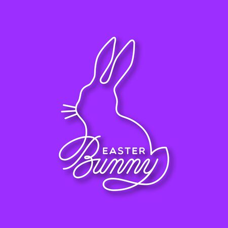 Easter Bunny line lettering with bunny silhouette for greeting card, invitation, poster, banner template. Vector illustration.
