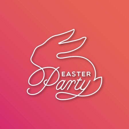 Easter Party linear lettering with sitting bunny silhouette for card, invitation, poster, banner template. Vector illustration.