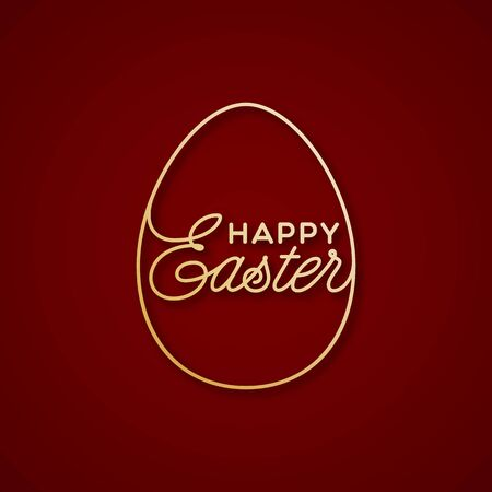 Golden Happy Easter linear lettering with egg frame for greeting card, invitation, poster, banner template. Vector illustration.