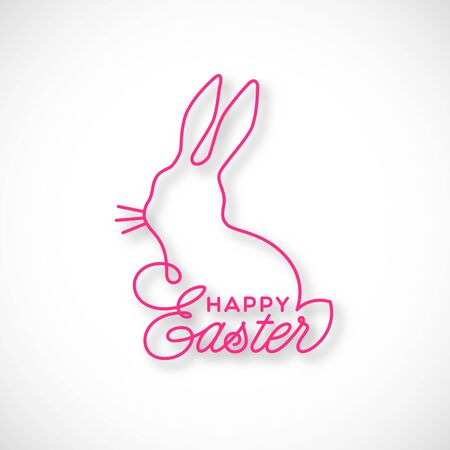 Happy Easter linear lettering with bunny silhouette for greeting card, invitation, poster, banner template. Vector illustration.