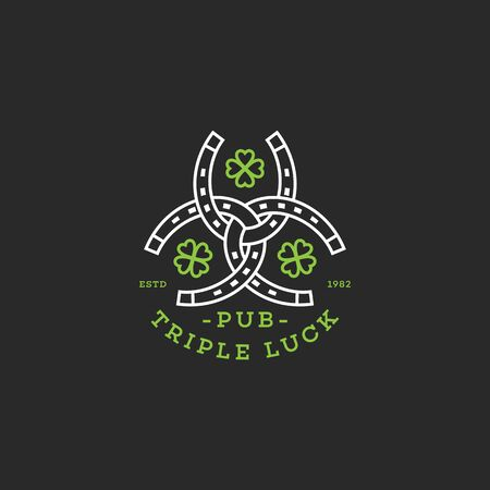 Triple luck design template with three horseshoes and four-leaf clovers in linear style. Vector illustration. Иллюстрация