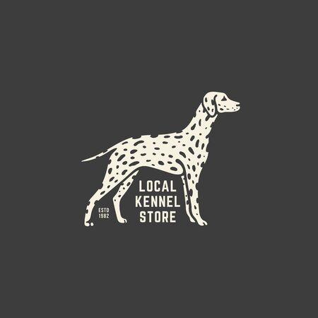 Dalmatian dog logo design template on dark background. Vector illustration.