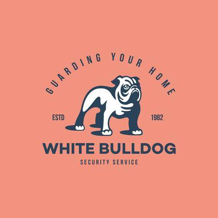 White bulldog  design template. Vector illustration.