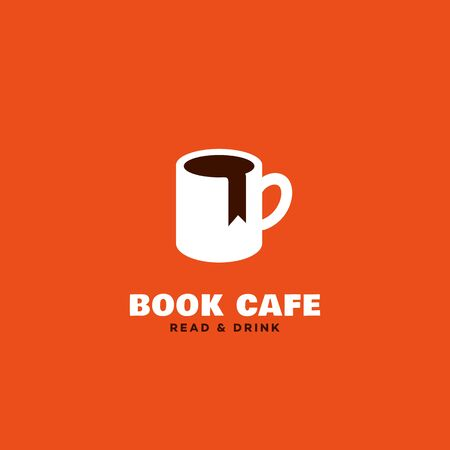 Book cafe  design template with mug and bookmark. Vector illustration.