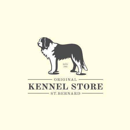 St. Bernard dog  design template. Vector illustration. Vettoriali