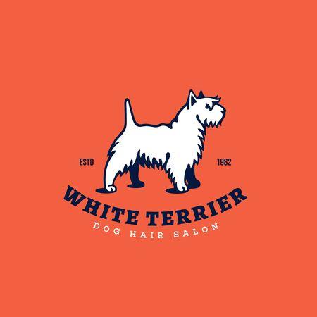 White terrier   design template. Vector illustration.