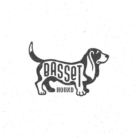 Lettering Basset on dog with stamp effect for label, badge, emblem design. Vector illustration.