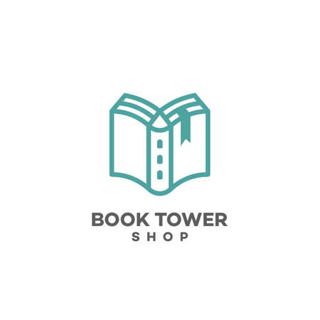 Book tower design template. Vector illustration.