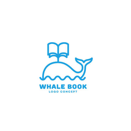 Whale book  design template in linear style. Vector illustration.