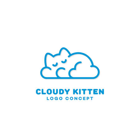 Cloudy kitten design template in linear style. Vector illustration. 向量圖像