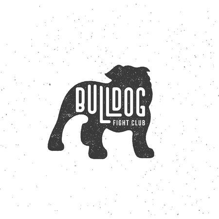 Lettering Bulldog on dog silhouette with stamp effect for   label, badge, emblem design. Vector illustration. Vettoriali