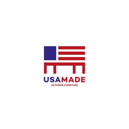 USA made outdoor furniture  design template. Vector illustration. Illustration