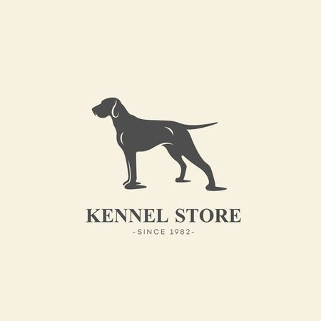 Simple pointer dog  design template. Vector illustration.