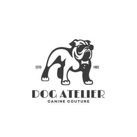 Bulldog in glasses and tie logo design template. Vector illustration. Vettoriali