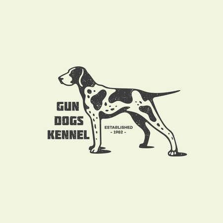 Pointer dog logo design template with stamp effect. Vector illustration.