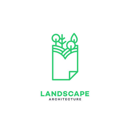 Landscape architecture logo template design with paper and trees in linear style. Vector illustration.