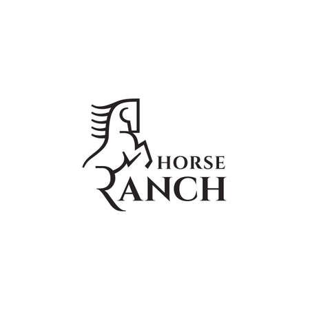 Horse ranch logo design template. Vector illustration.