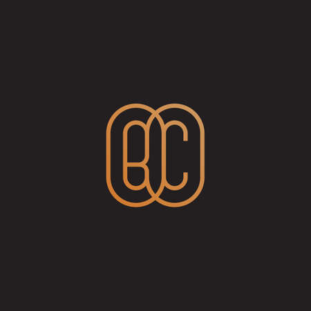 Golden monogram two letters B and C. Vector illustration.