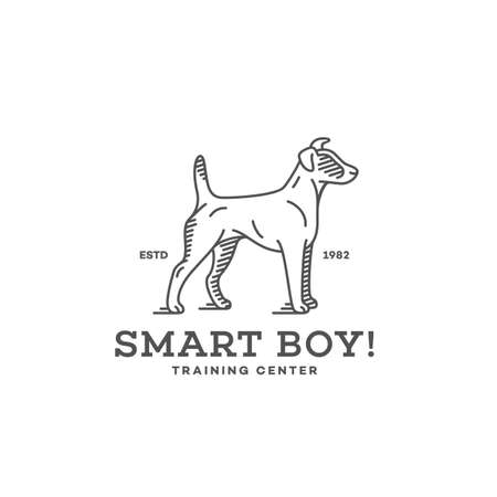 Smooth fox terrier logo design template in linear style. Vector illustration.
