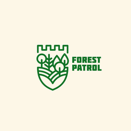Forest patrol  design template in linear style. Vector illustration.