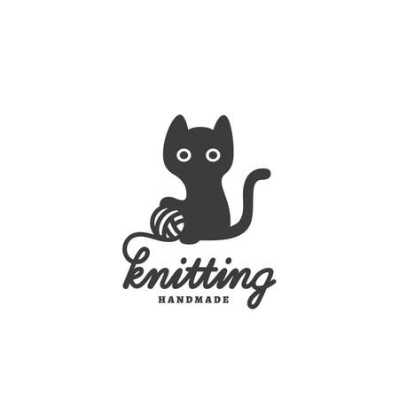 Knitting   design template with black cat and ball of wool. Vector illustration.