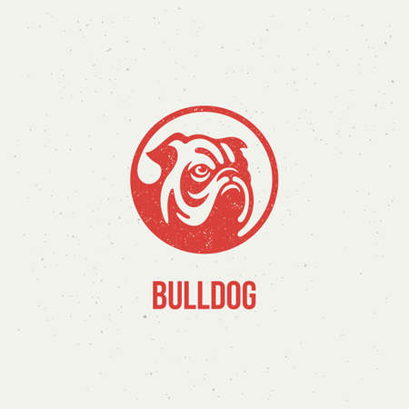 Bulldog head  design template with stamp effect. Vector illustration.