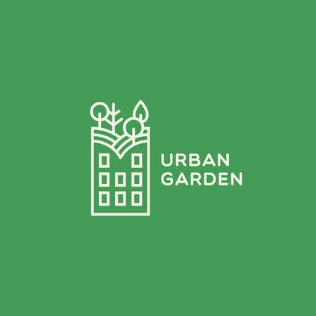 Urban garden  design template in linear stylel. Vector illustration. 向量圖像