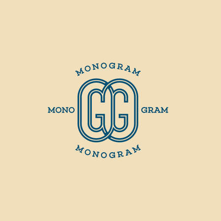 Monogram two letters G in linear style. Vector illustration. 向量圖像