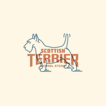 Scottish terrier  design template in linear style. Vector illustration. 向量圖像