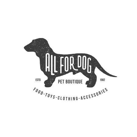 Lettering All For Dog on dachshund silhouette with stamp effect for  label, badge, emblem design. Vector illustration.