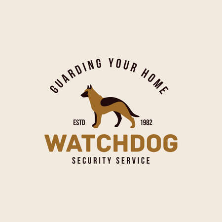 Colored shepherd dog  design template. Vector illustration.